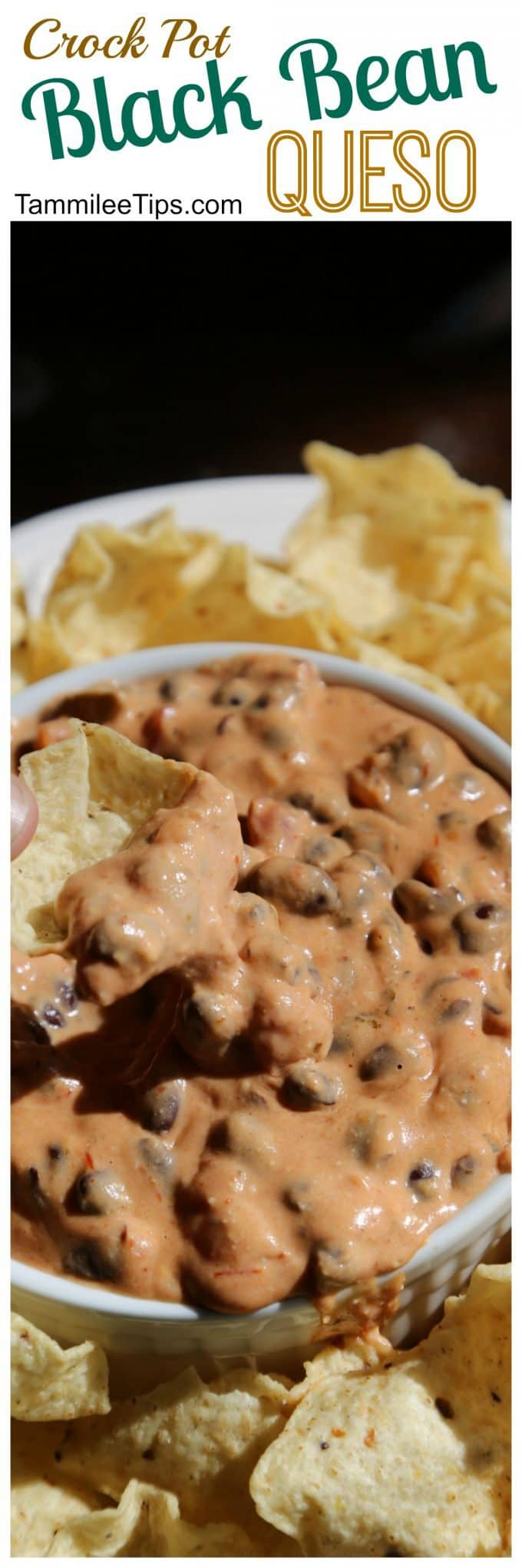 Easy Crockpot Black Bean Queso Dip Recipe! So easy to make in the slow cooker! Perfect for Super Bowl football parties! Velveeta and Cream Cheese make this Queso rich and creamy!