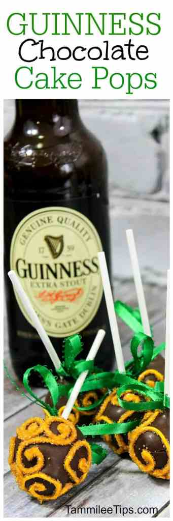 Easy Guinness Chocolate Cake Pop Recipe perfect for St Patricks Day! Everyone will love this chocolate stout beer sweet dessert recipe! Great St Pattys Day party recipe