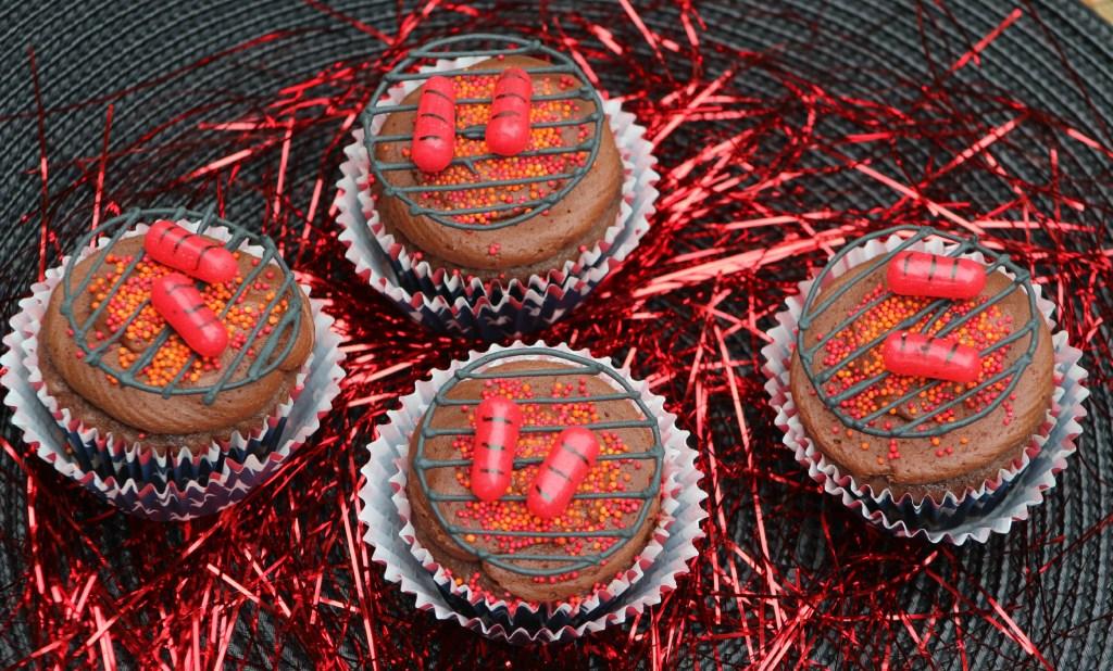 Barbecue Hot Dog Cupcakes