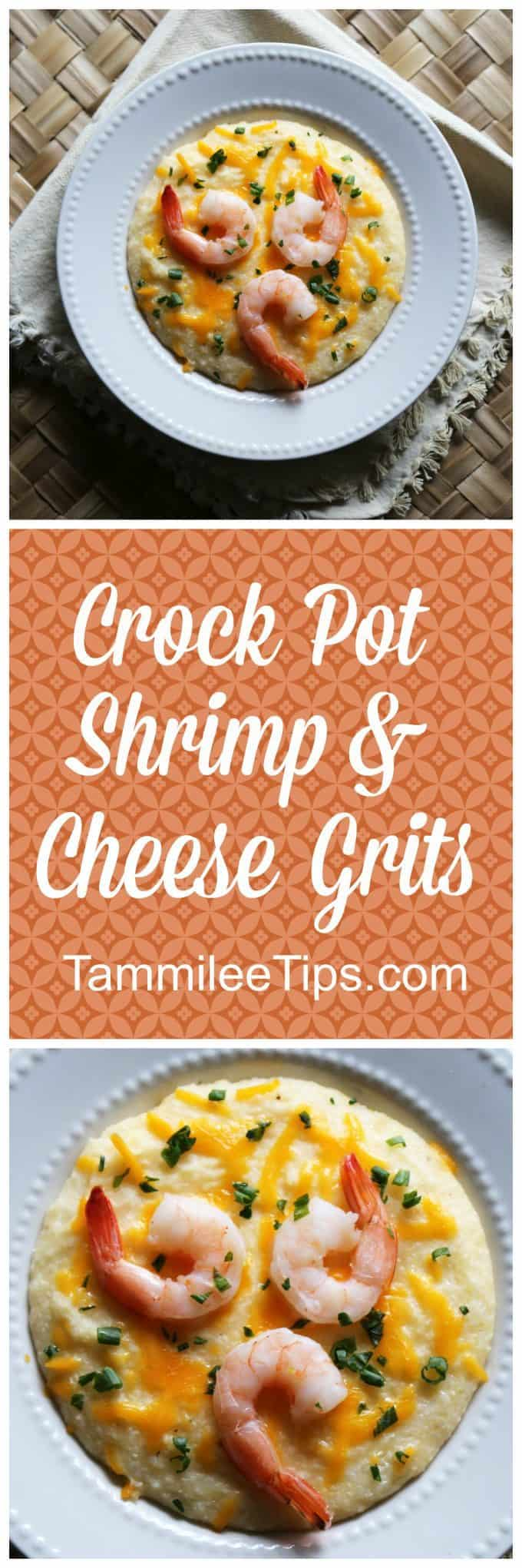 Super easy Crock Pot Shrimp and Cheese Grits Recipe! This simple southern slow cooker family meal is perfect for dinner or breakfast!  The crockpot does all the work!