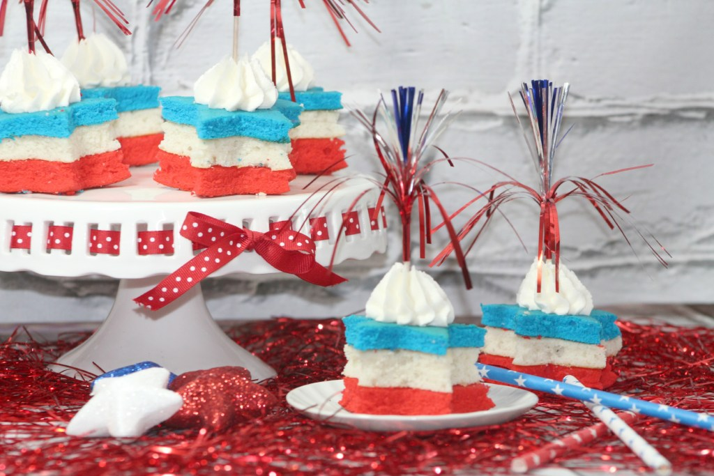 Firecracker Red White and Blue Cupcakes Recipe perfect for 4th of July or Memorial Day! Fun, Simple to make, Easy, Delicious, Dessert to celebrate Americas Independence!