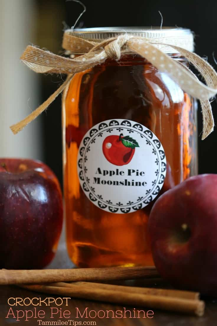 Super easy to make homemade Crock Pot Apple Pie Moonshine Recipe is absolutely delicious! Learn how to make moonshine in the slow cooker with this recipe. Made with everclear this recipe packs a punch. This make a great holiday gift or DIY birthday gift. 