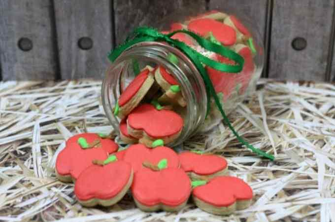 Super cute Mini Apple Cookies in a Mason Jar! Perfect for Back to School!
