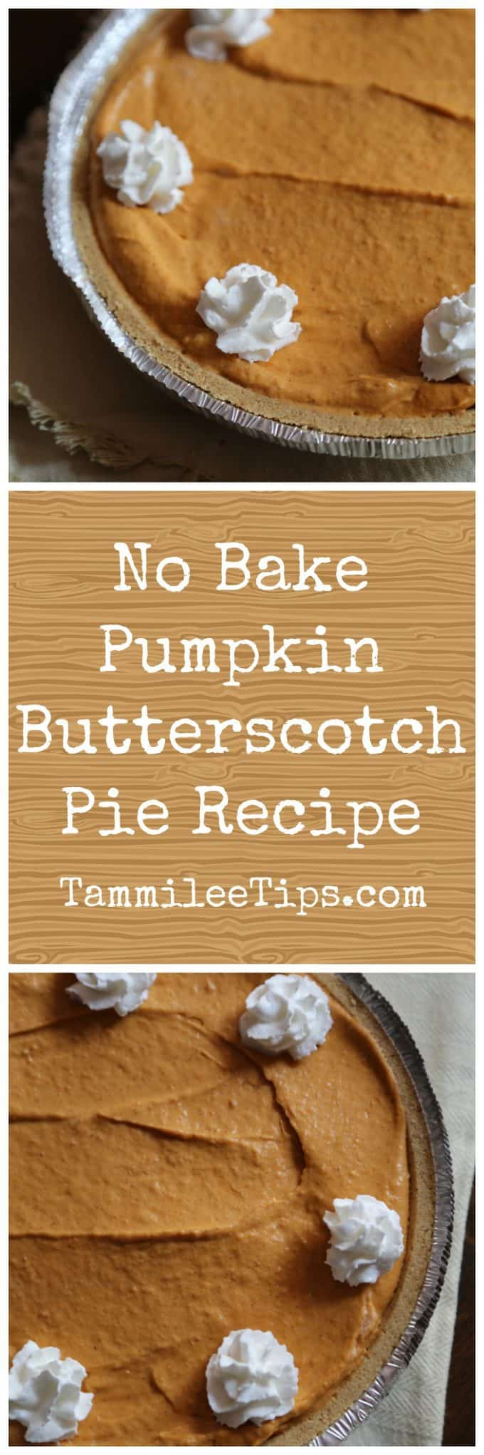 Easy No Bake Pumpkin Butterscotch Pie perfect for Thanksgiving, Christmas, Holiday parties! This no bake pies recipe is delicious! This dessert is great for the entire family.