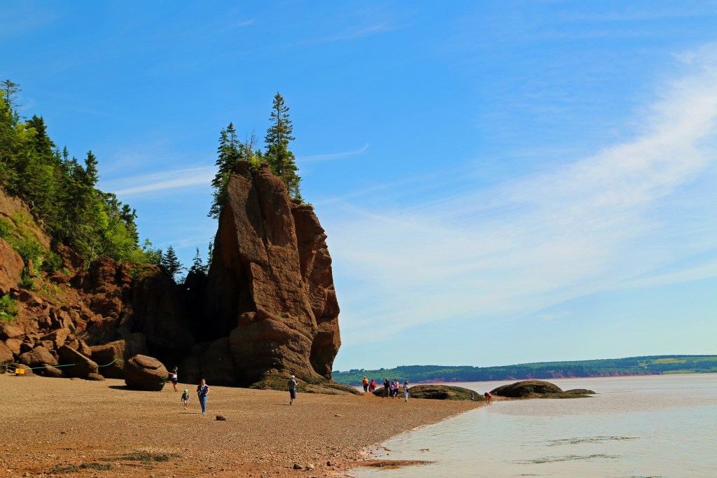 Walking on the sea floor at Hopewell Rocks New Brunswick