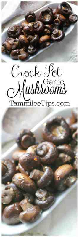 Slow Cooker Crock Pot Garlic Mushrooms is the perfect easy recipe for holiday parties, football super bowl parties or anytime you need an appetizer #Slowcooker #crockpot #recipe #appetizer #fngerfood #thanksgiving #christmas #superbowl #football