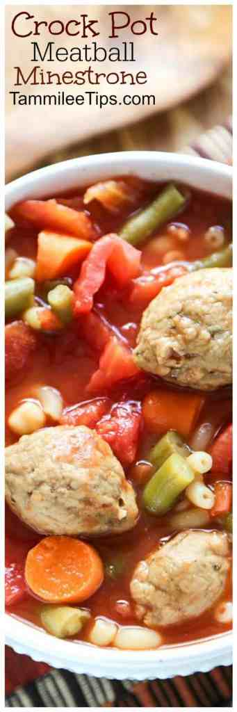 Easy CrockPot Slow Cooker Minestrone Soup Recipe with Meatballs. This recipe can easily be made vegetarian or with meat.