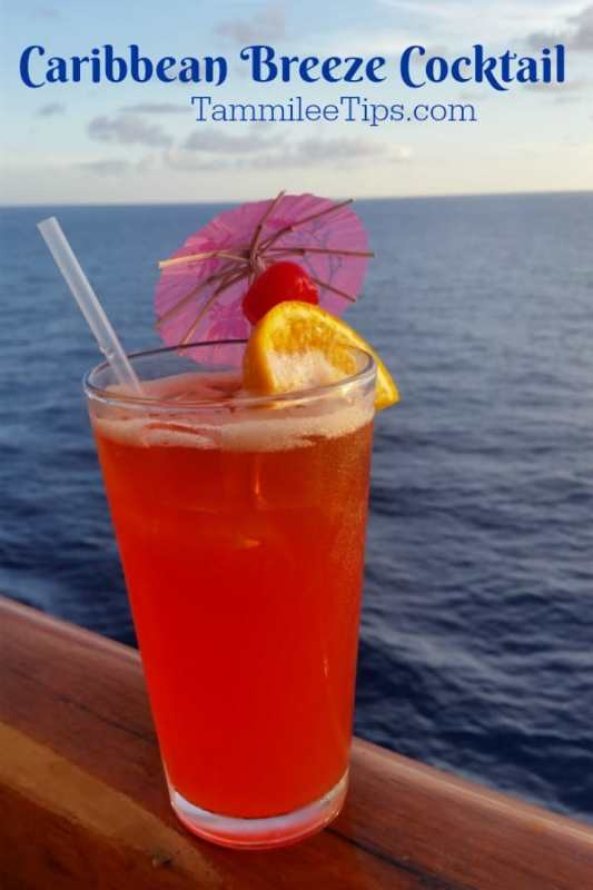 Enjoy a reminder of your amazing Carnival Cruise vacation at home with this Caribbean Breeze Cocktail! The perfect tropical drink for summer!