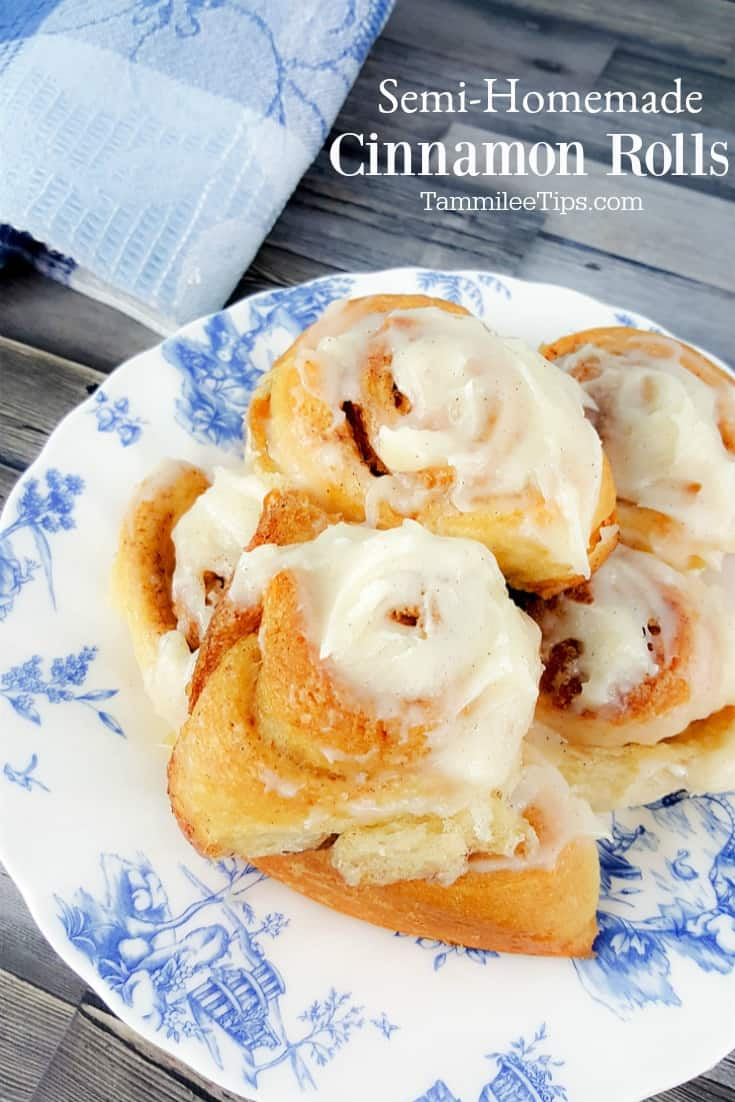 Easy No yeast Semi-Homemade Cinnamon Rolls Recipe! Super quick to bake, tastes amazing, and the family will love them for breakfast! Plus recipe for homemade cream cheese icing.  You won't believe how easy these are to make with items you probably already have in your fridge.  #cinnamonrolls #recipe #easyrecipe #semihomemade #holiday #christmas #christmasmorning