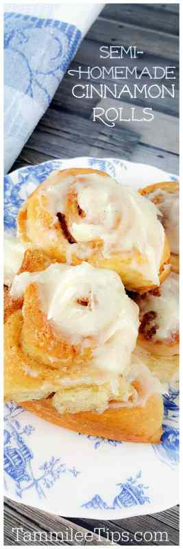 Easy No yeast Semi-Homemade Cinnamon Rolls Recipe! Super quick to bake, tastes amazing, and the family will love them for breakfast