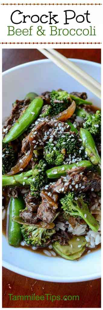 Crock Pot Beef and Broccoli Recipe with Snow Peas! This slow cooker Asian-inspired recipe is easy to make and tastes delicious! Easy Slow Cooker Crock Pot Beef & Broccoli Recipe! One of the best crockpot freezer meals you can make!