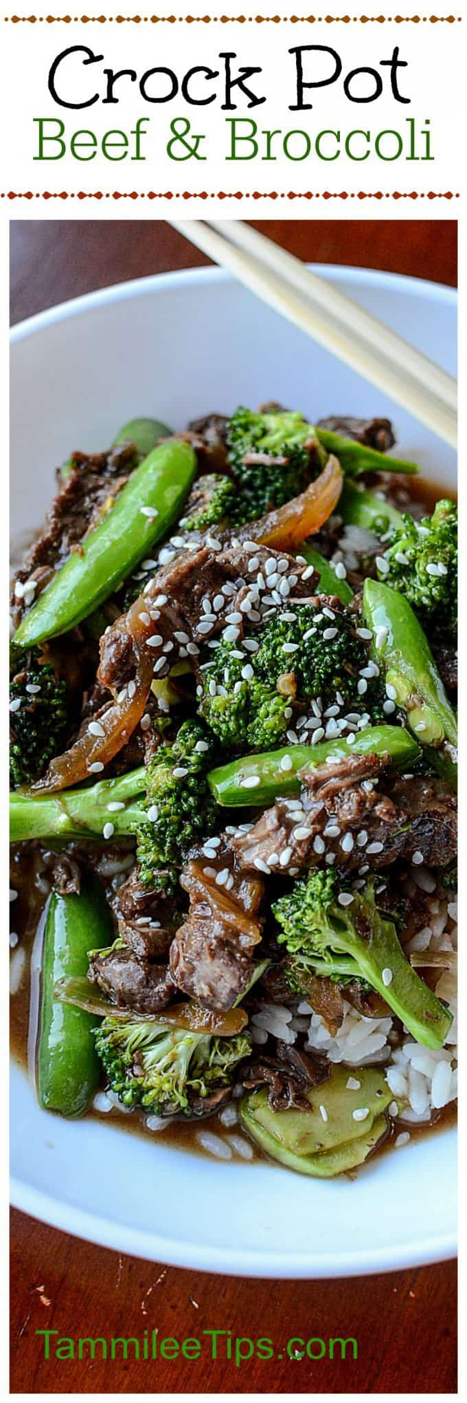 Easy Crock Pot Beef and Broccoli Recipe with Snow Peas! This slow cooker Asian-inspired recipe is easy to make and tastes delicious! Easy Slow Cooker Crock Pot Beef & Broccoli Recipe! One of the best crockpot freezer meals you can make! #crockpot #slowcooker #recipe #beef