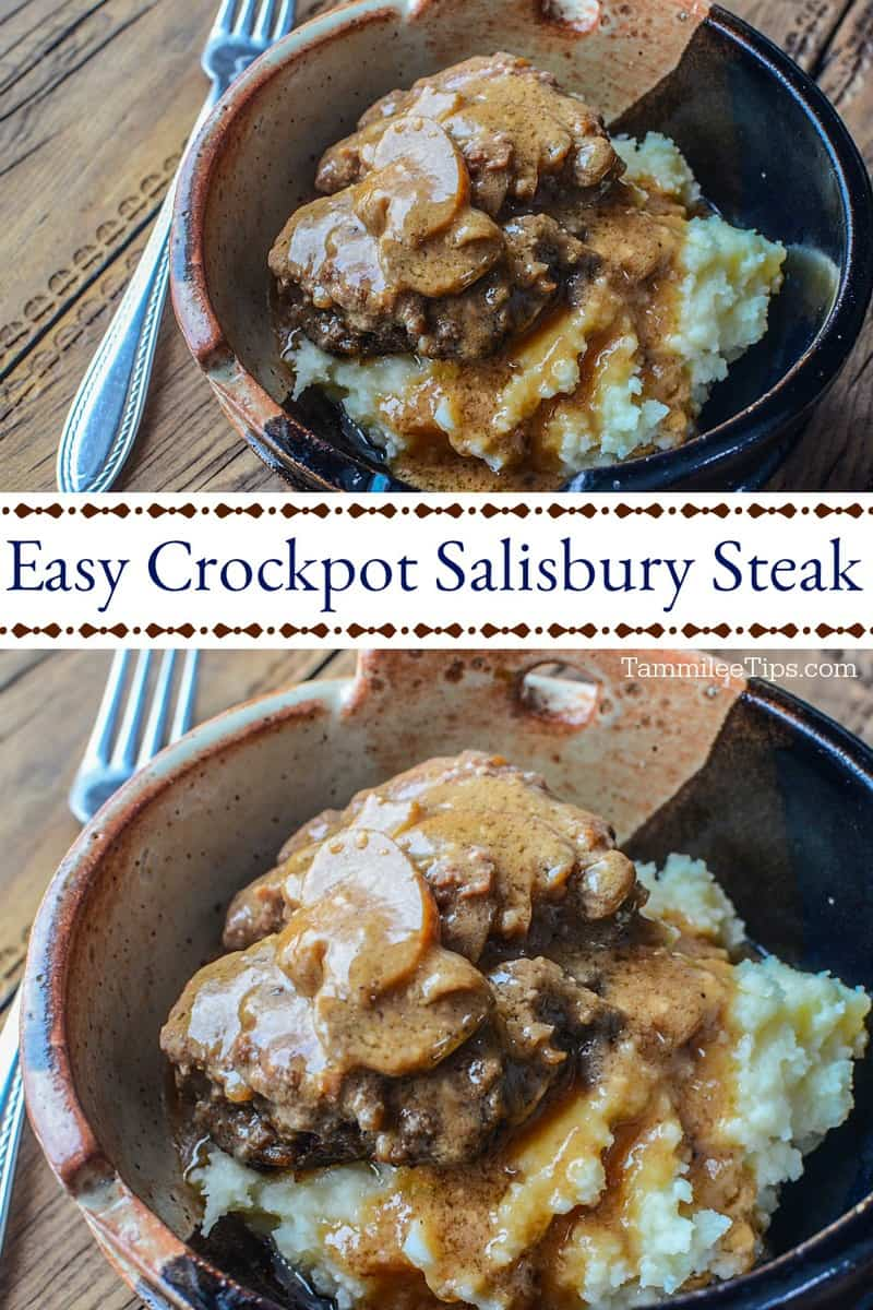 Easy Crockpot Salisbury Steak Recipe! The slow cooker does all the work and you have an amazing dinner recipe!  You won't believe how easy this recipe is to make! The perfect family dinner.  #slowcooker #crockpot #steak #salisburysteak #recipe.