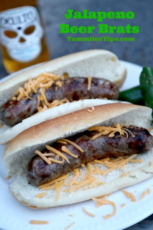 Jalapeno Beer Brats Recipe! Fire up the grill and get ready to barbecue! This Johnsonville Brats recipe is perfect for dinner tonight!