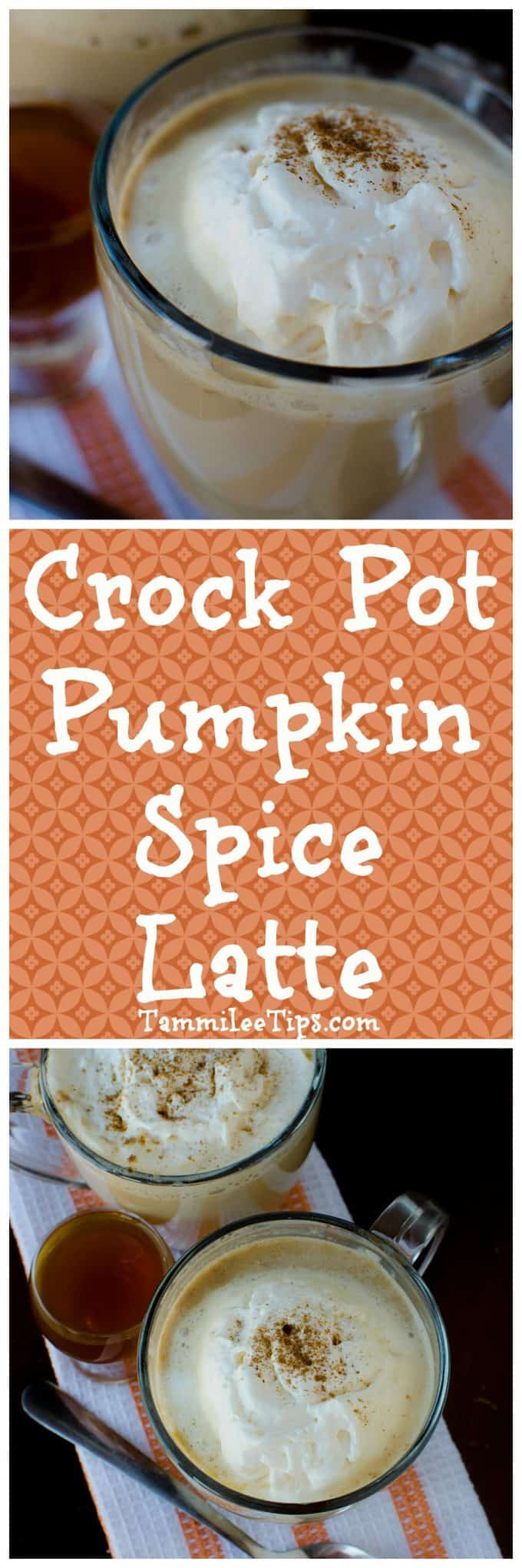 How to make a homemade Crock Pot Pumpkin Spice Latte plus a boozy version! This slow cooker recipe is super easy to make! Similar to Starbucks or your favorite coffee shops!