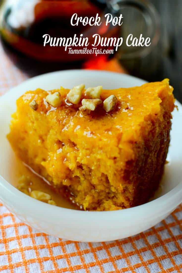 This super easy crockpot pumpkin dump cake recipe is absolutely delicious! The slow cooker does all the work and you have a great fall dessert to serve! This recipe is so easy with only a few ingredients. Truly the crock pot does all the work!  #dumpcake #pumpkin #dessert #crockpot #slowcooker #fall #harvest #holiday #thanksgiving