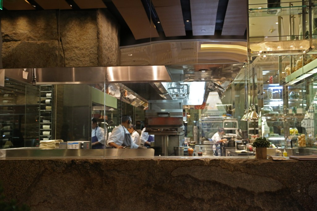 kitchen area of Harvest in Bellagio