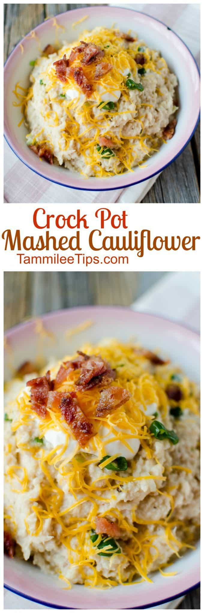 Easy recipe for Crock Pot Mashed Cauliflower loaded with garlic and cheese. You can leave the cheese off to make a healthy version if you like. This slow cooker comfort food is the perfect side dish for Thanksgiving, Christmas or a family dinner. #thanksgiving #recipe #healthy #crockpot #slowcooker