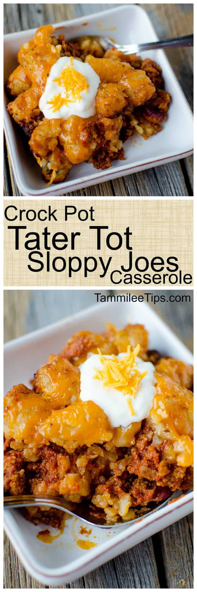 Super easy to make Crock Pot Tater Tot Sloppy Joes Casserole Recipe. Made with ground beef the entire family will love this slow cooker recipe. The crockpot does all the work and you have a great family meal! #crockpot #slowcooker #recipe