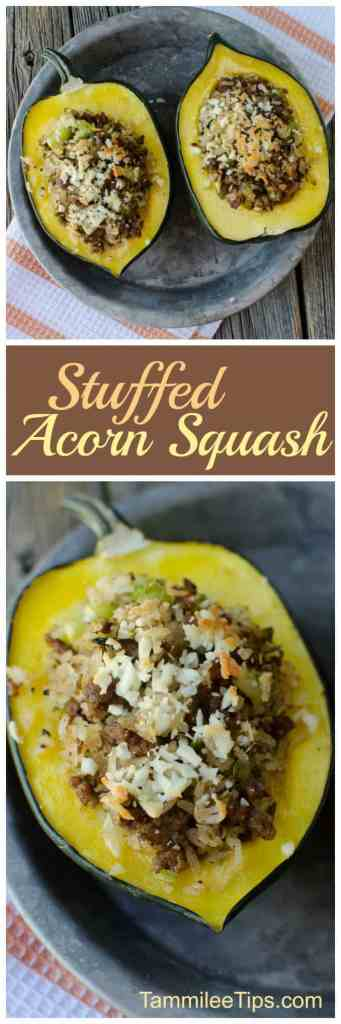 Delicious Sausage and Rice Stuffed Acorn Squash Recipe! So easy to make, great for family dinners, easy to make vegetarian, paleo or vegan!