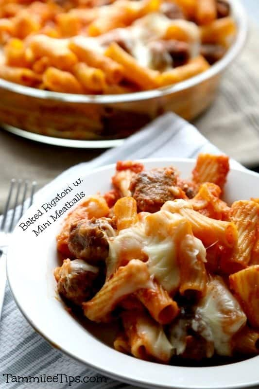 Baked Rigatoni with Mini Meatballs Recipe! This pasta recipe is so easy to make and your entire family will love it. Perfect for family dinners!