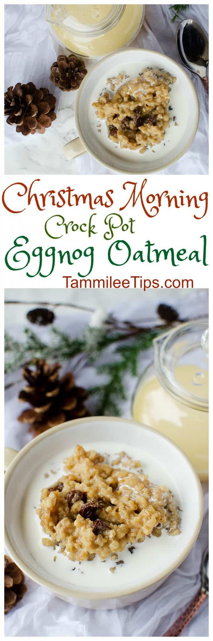 Perfect for Christmas morning Crock Pot Eggnog Oatmeal! Made with steel cut oats the slow cooker does all the work! Save yourself holiday stress and make this overnight oats recipe! #crockpot #slowcooker #oateal #eggnog