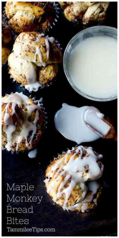 Maple Cinnamon Roll Monkey Bread Bites Recipe . Easy sweet muffins the family will love #dessert #MonkeyBread #recipe