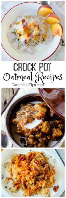 Easy overnight slow cooker crock pot oatmeal recipes the family will love for breakfast!