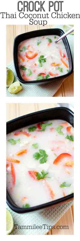 Make this delicious Thai Coconut Chicken Soup Recipe in the crock pot slow cooker today! So easy to make and tastes so good for dinner! A great comfort food!