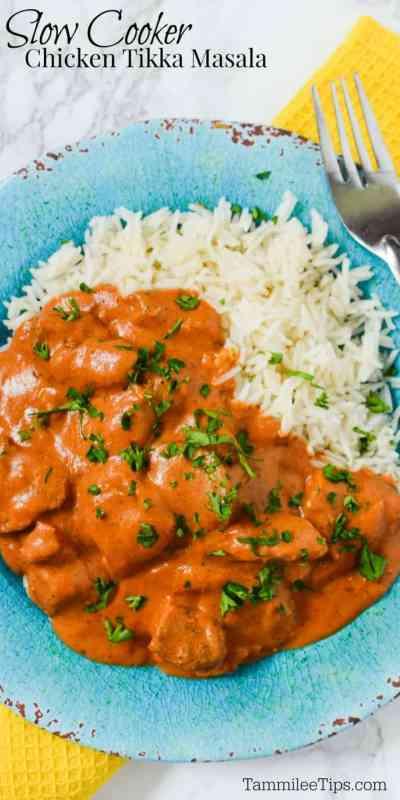Simple easy best chicken tikka masala recipe made in the slow cooker crock pot! #crockpot #slowcooker #chicken #recipe