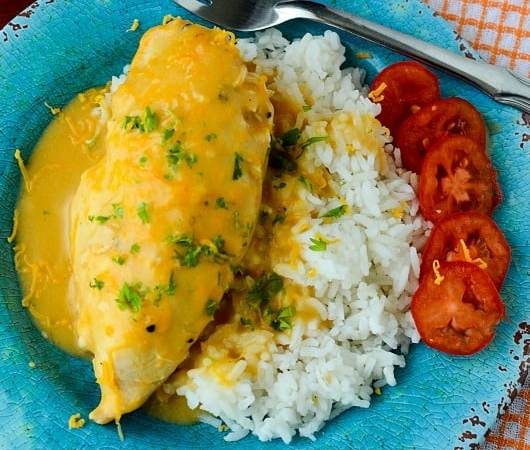 Slow Cooker Crock Pot Cheesy Chicken and Rice Recipe