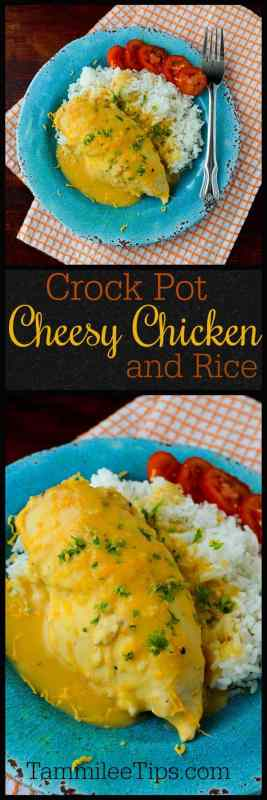 Easy crock pot slow cooker cheesy chicken and rice recipe! The crockpot makes this recipe so easy to prepare for family dinner. #crockpot #chicken #rice #recipe #slowcooker