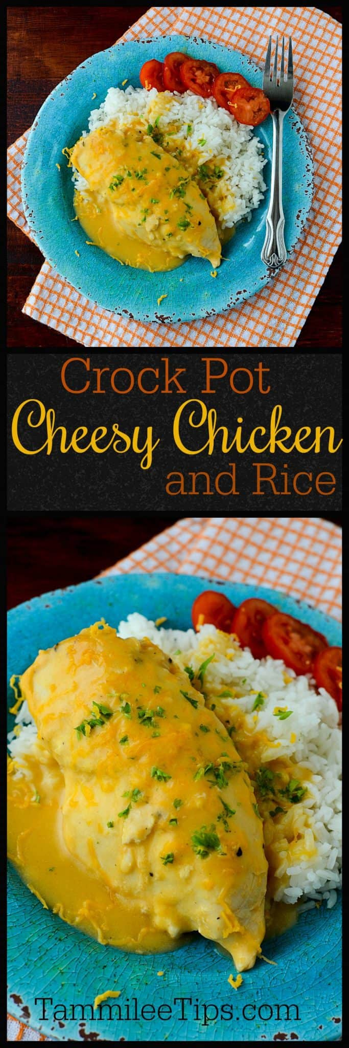 This slow cooker crock pot cheesy chicken and rice recipe is the perfect combination of cheddar cheese, chicken, and seasonings! So easy to make and perfect for family dinner.