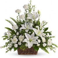 Peaceful White Lilies Basket- T228-1A