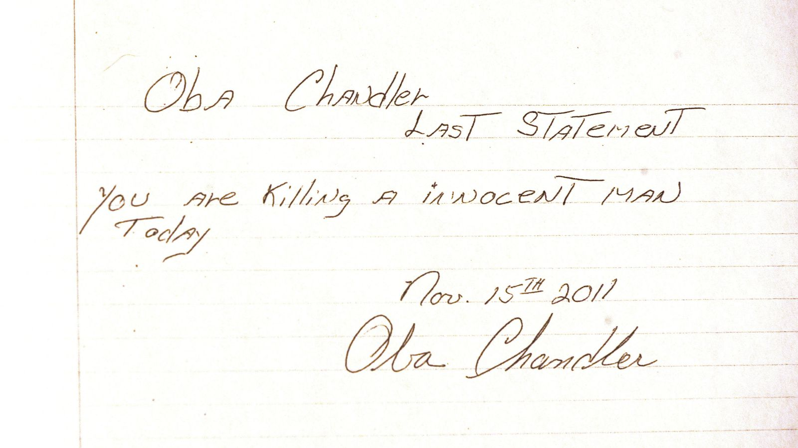 From 2011 Oba Chandler Leaves Behind One Last Denial Before He Is Executed