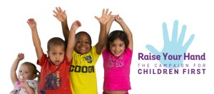 Imagery from the Children First 'Raise Your Hand' campaign