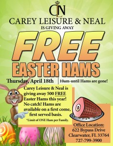 500 Easter hams will be given out to community families in need