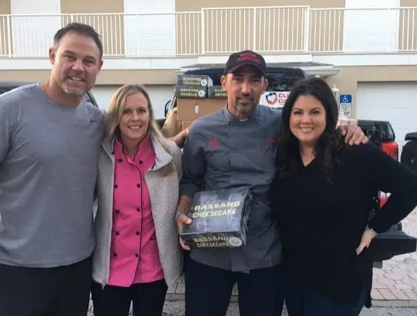 Mike Alstott Delivers for Firefighters cheesecake