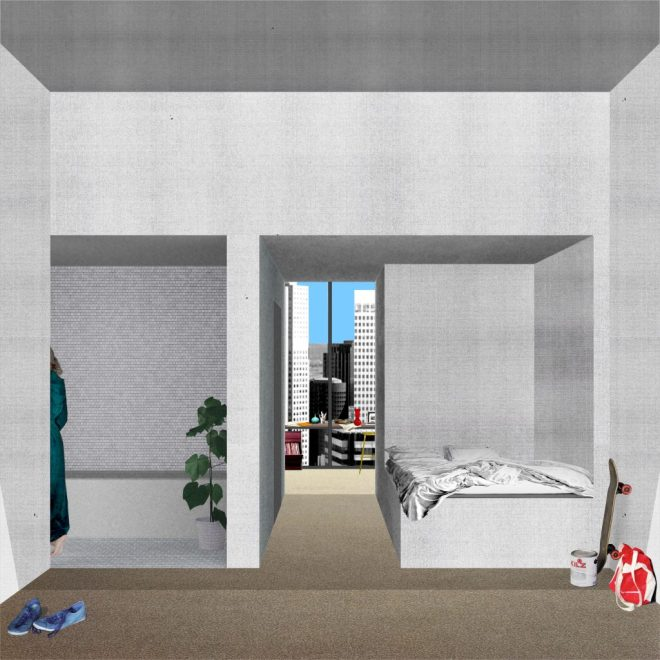 5_A single bed and a shared Bathroom