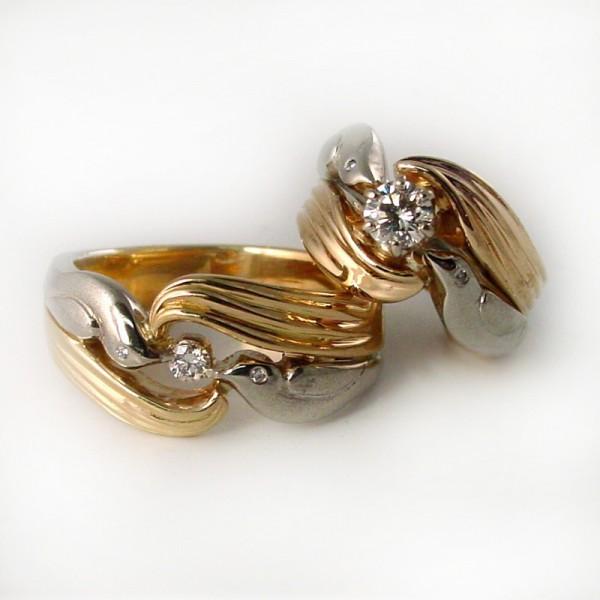 Dove Accent Wedding Ring Set TamRon Jewelry