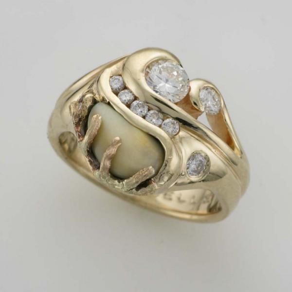 Diamond Elks Tooth Ring TamRon Jewelry