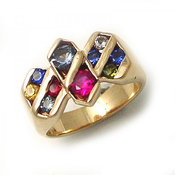 Family Ring With Birthstones TamRon Jewelry