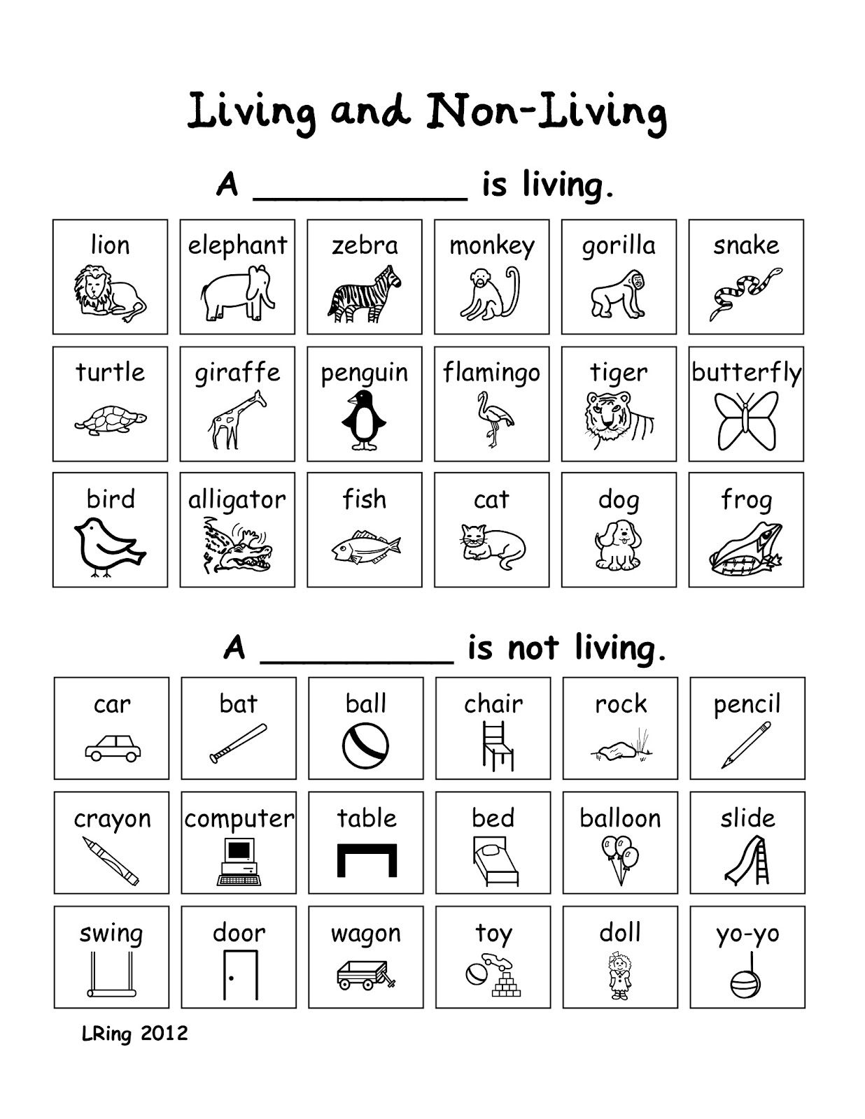 Living And Nonliving Things Worksheet For High School