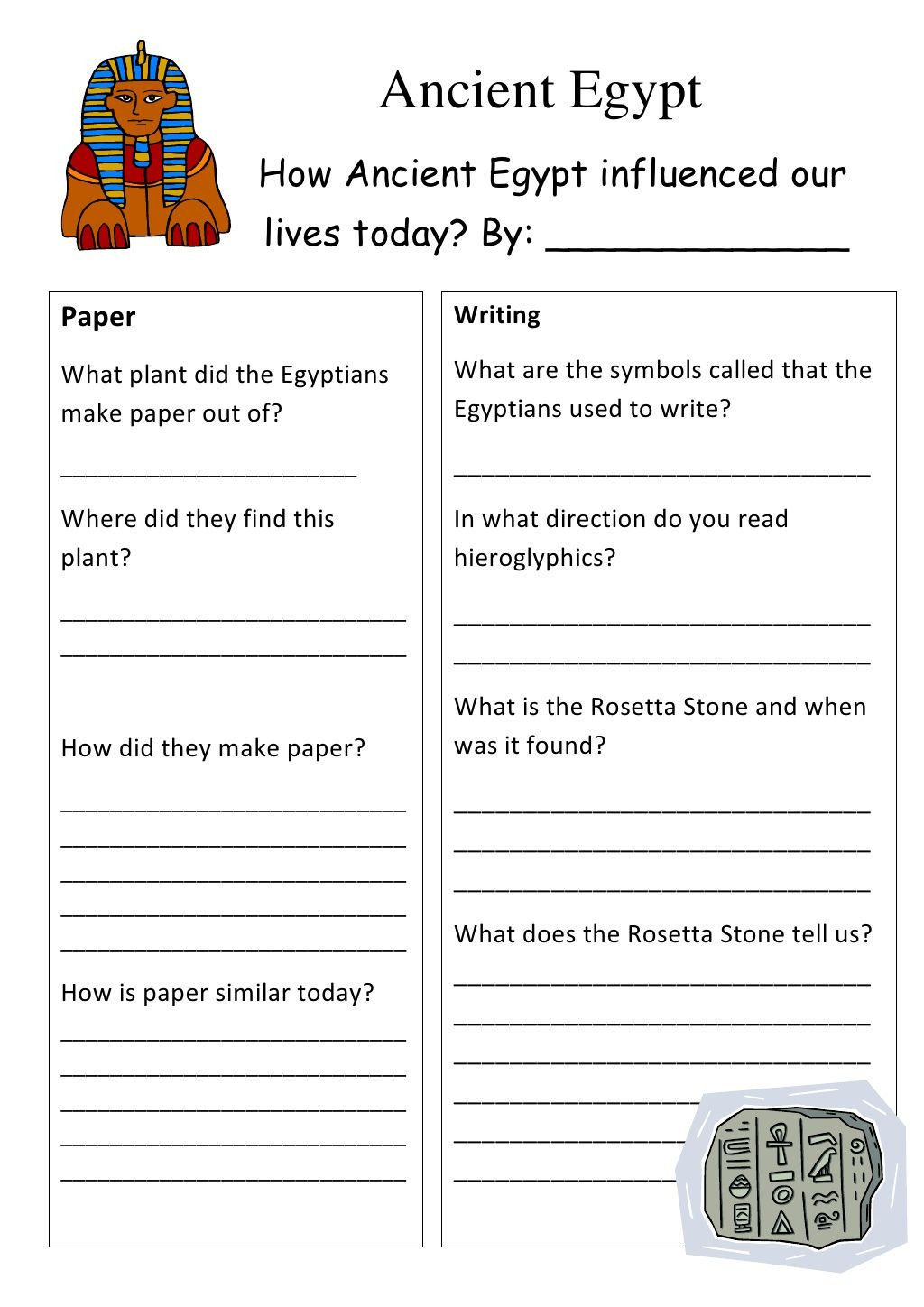 Free Ancient Egypt Worksheets For Middle School