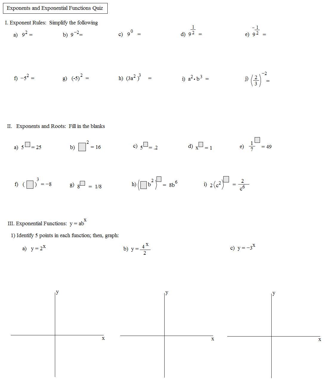 Algebra Exponent Rules Worksheet