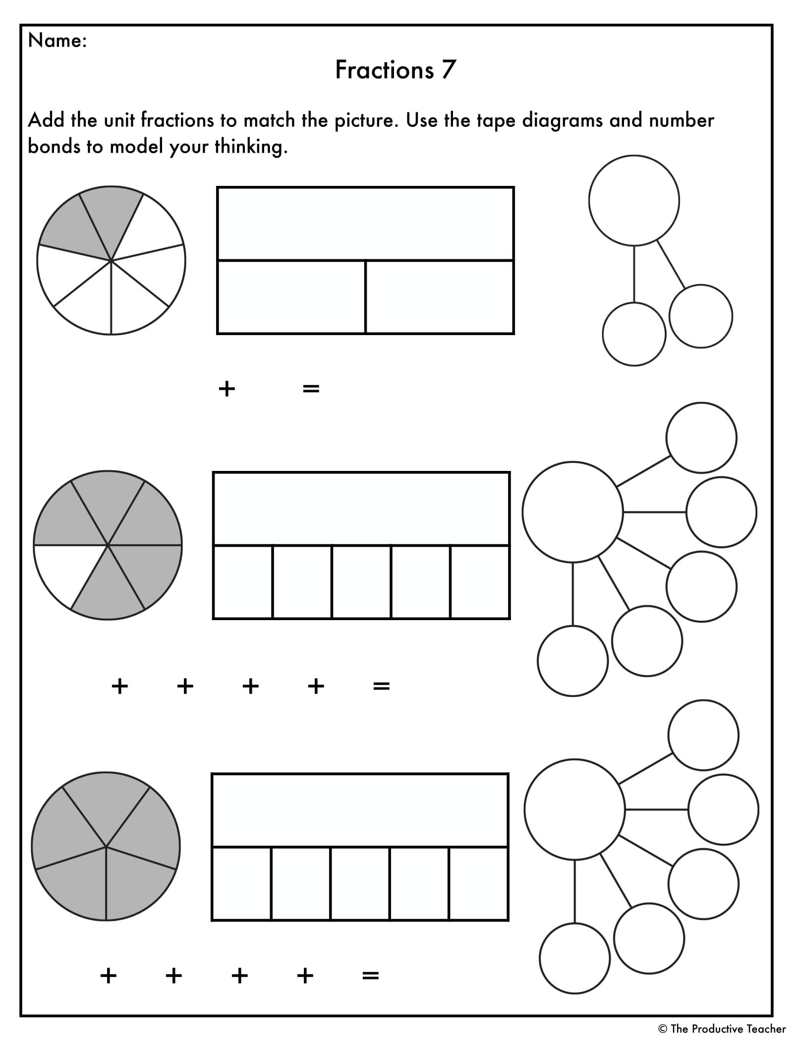 Adding Fractions With Models Worksheets
