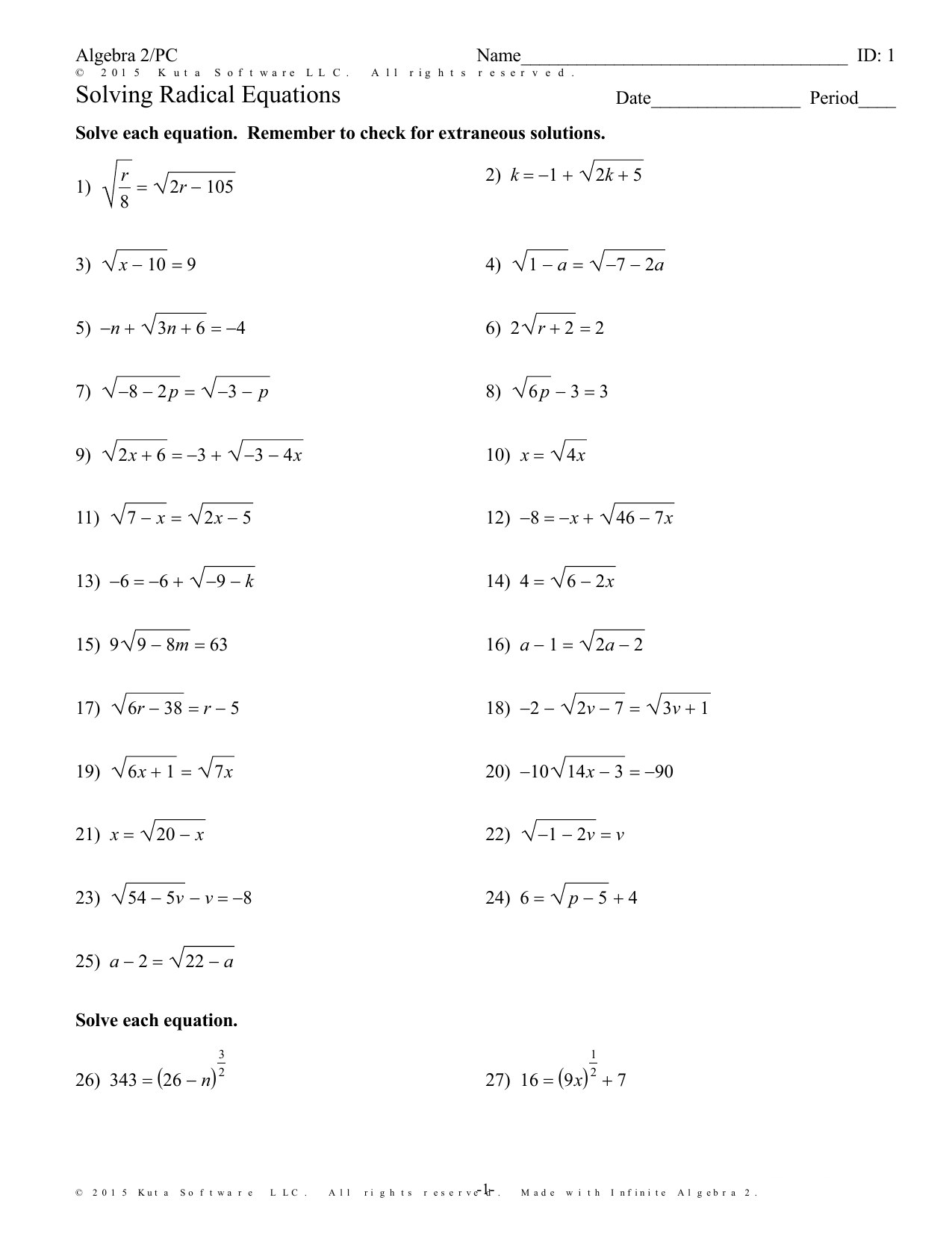 Solving Radical Equations Worksheet Answer Key Algebra 2