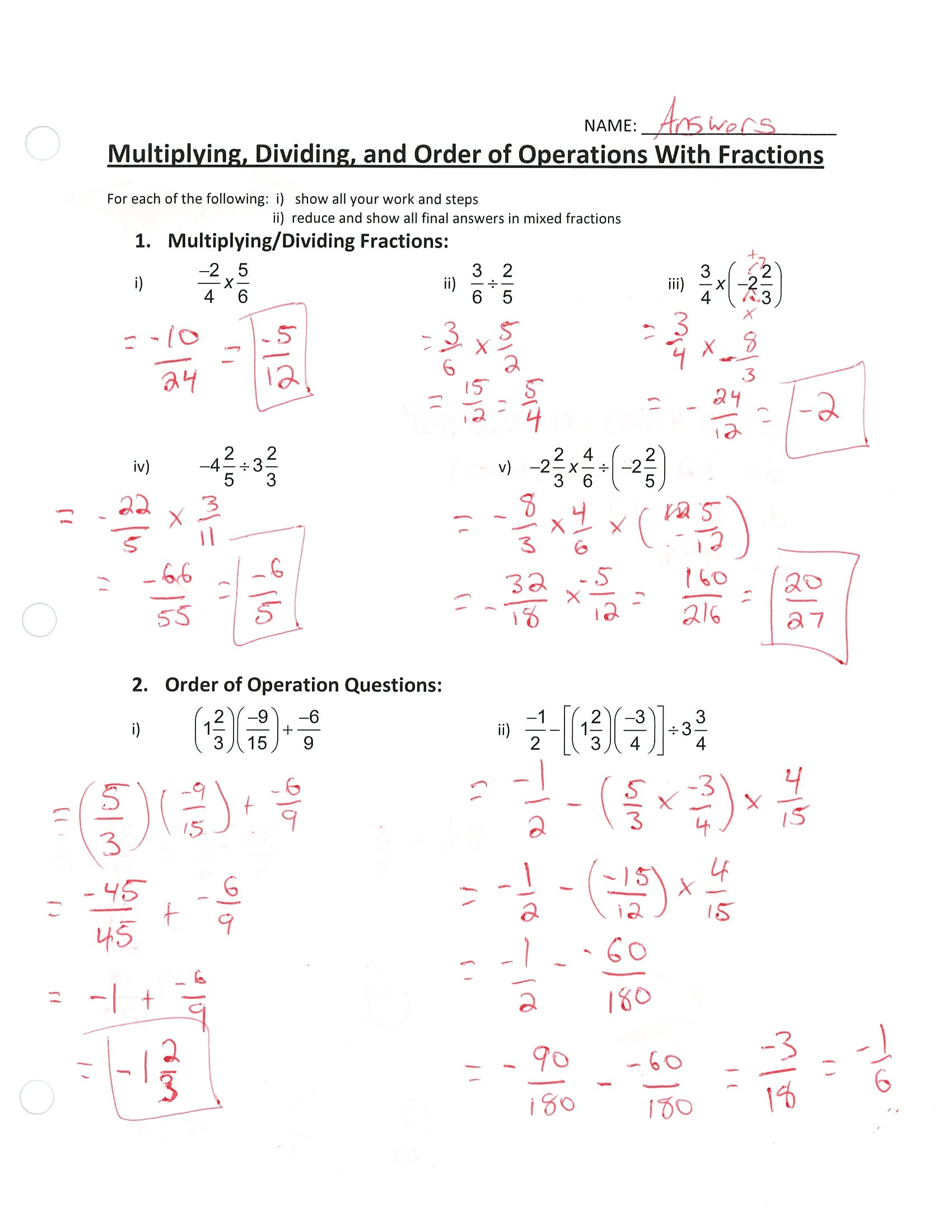 Order Of Operations With Rational Numbers Worksheet