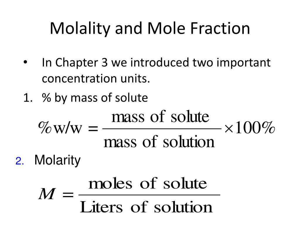 Molarity Molality Mole Fraction Mass Percent Worksheet