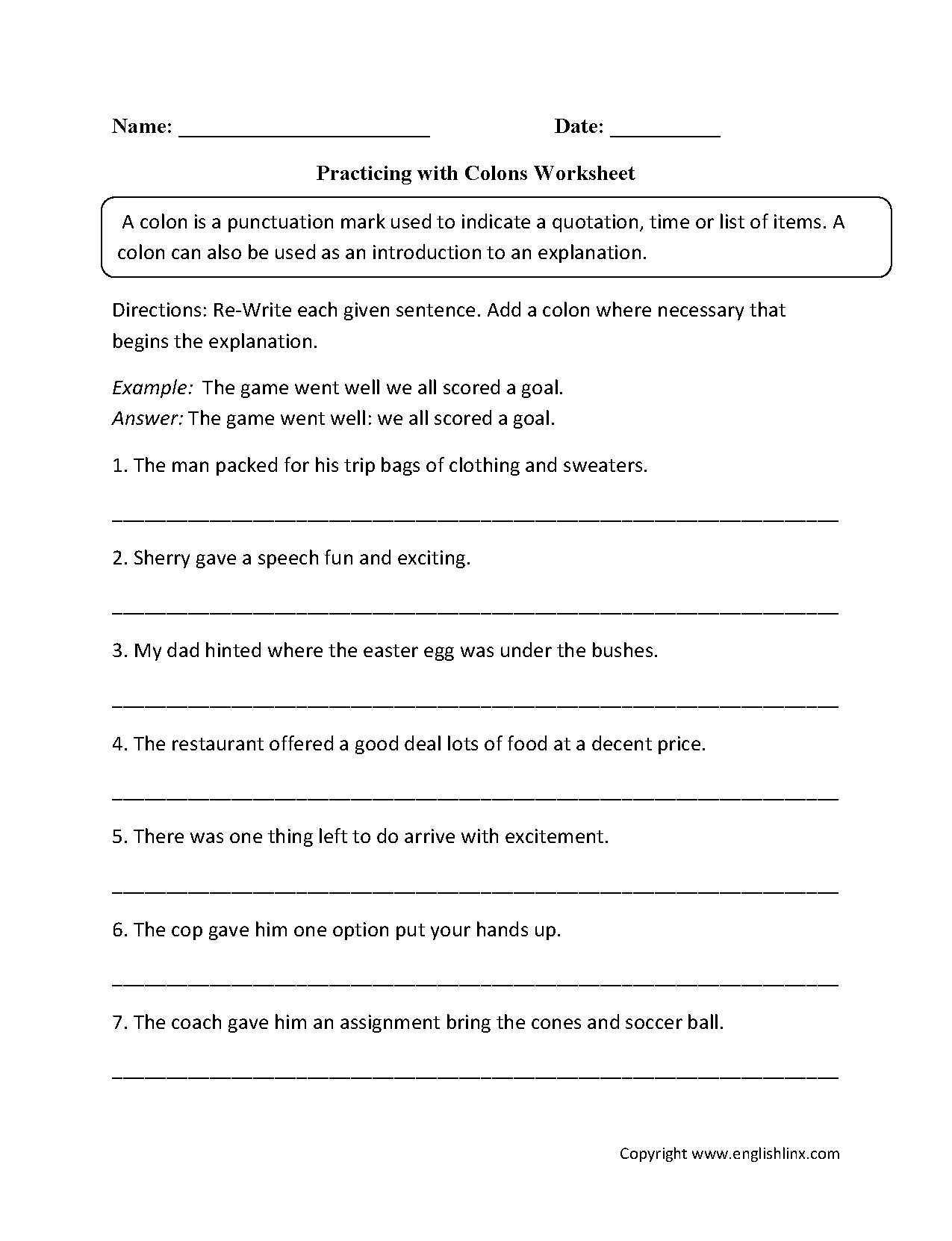 Punctuation Practice Worksheets Middle School